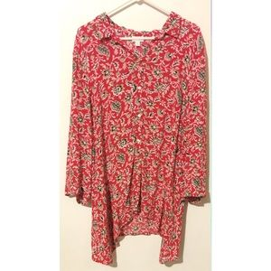 J Jill red floral button up tunic